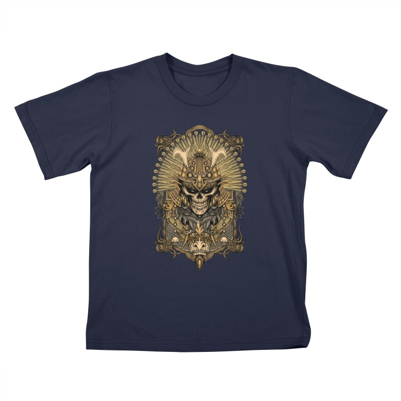ornamental samurai skull Kids T-Shirt by gupikus's Artist Shop