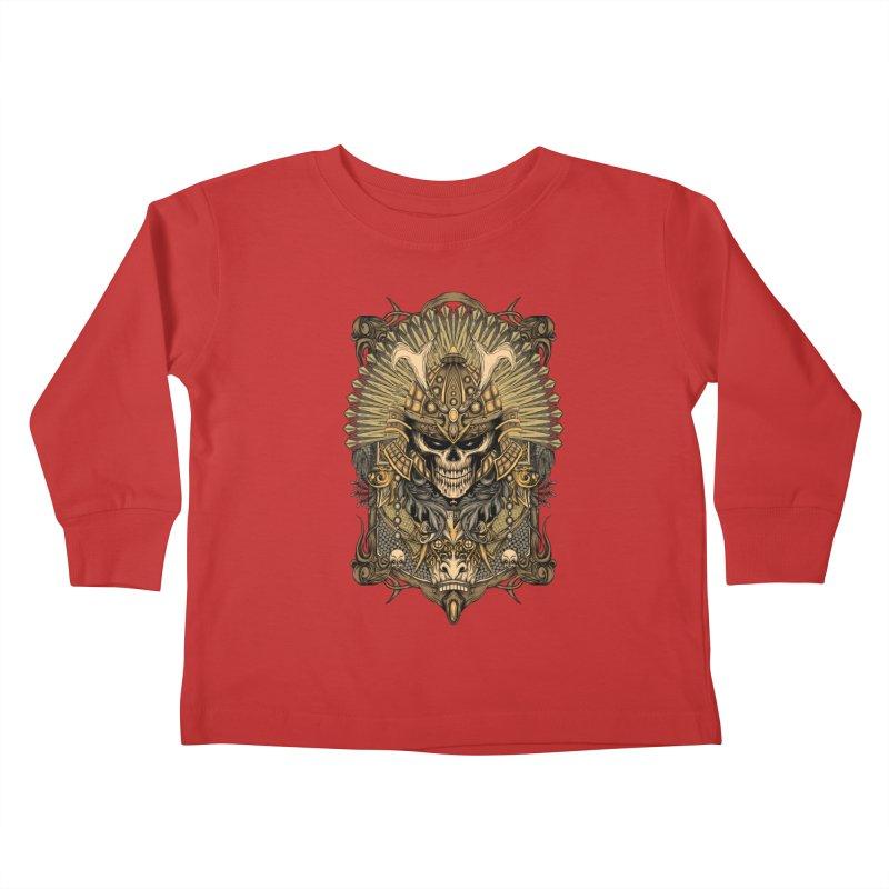 ornamental samurai skull Kids Toddler Longsleeve T-Shirt by gupikus's Artist Shop