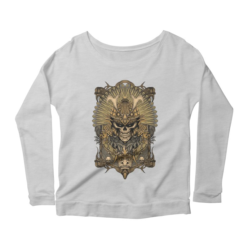 ornamental samurai skull Women's Scoop Neck Longsleeve T-Shirt by gupikus's Artist Shop