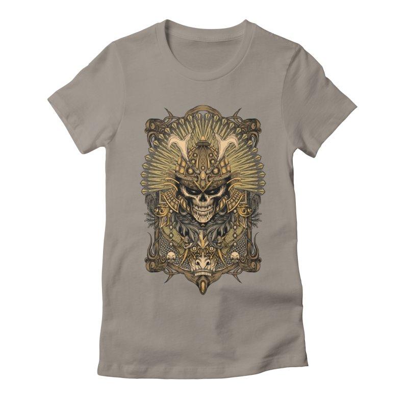 ornamental samurai skull Women's Fitted T-Shirt by gupikus's Artist Shop