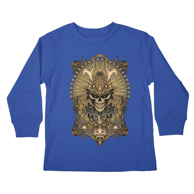 ornamental samurai skull Kids Longsleeve T-Shirt by gupikus's Artist Shop