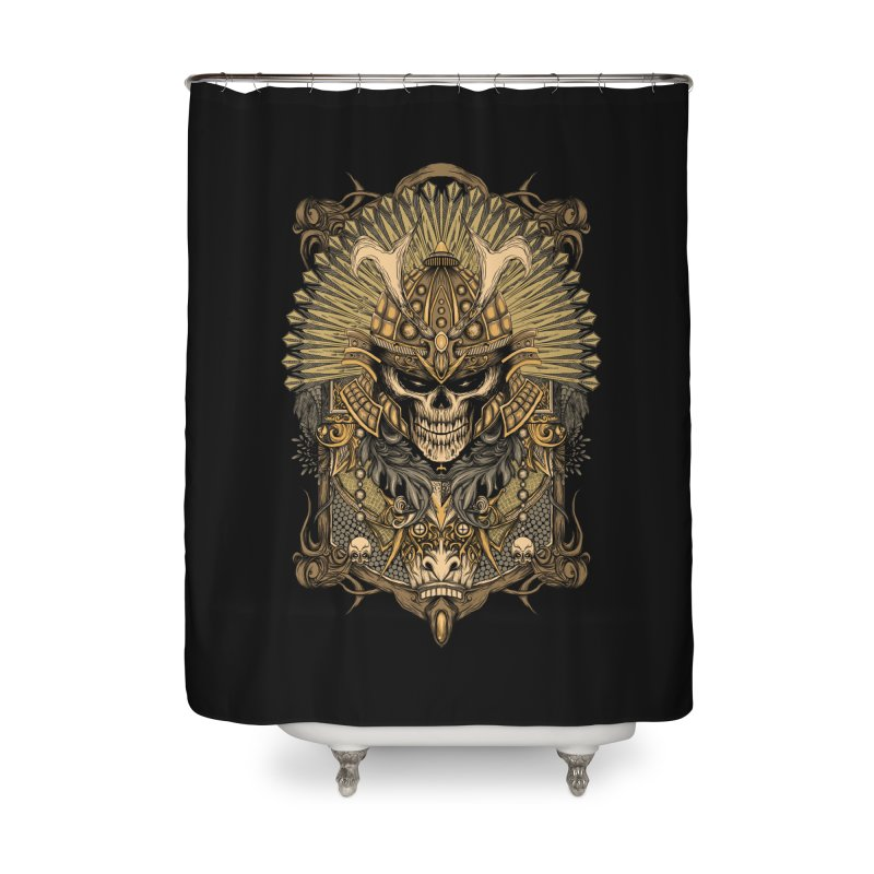 ornamental samurai skull Home Shower Curtain by gupikus's Artist Shop