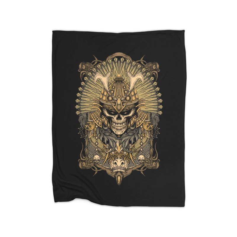 ornamental samurai skull Home Blanket by gupikus's Artist Shop