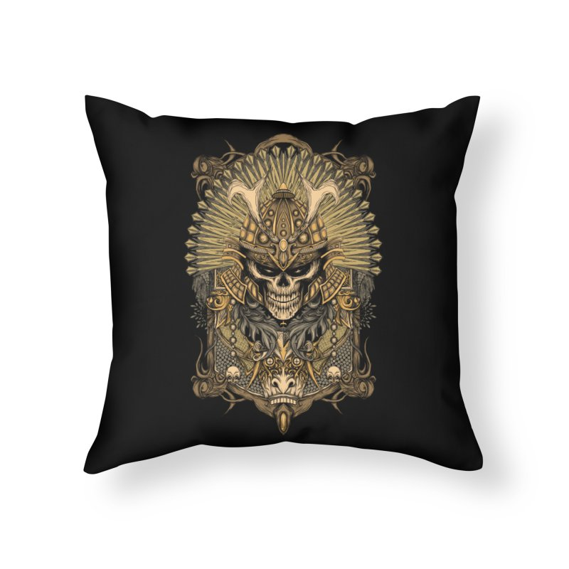 ornamental samurai skull Home Throw Pillow by gupikus's Artist Shop