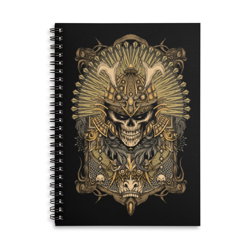 ornamental samurai skull Accessories Lined Spiral Notebook by gupikus's Artist Shop