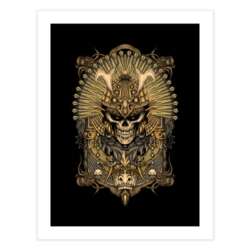 ornamental samurai skull Home Fine Art Print by gupikus's Artist Shop