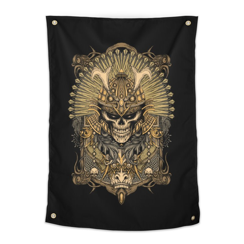 ornamental samurai skull Home Tapestry by gupikus's Artist Shop