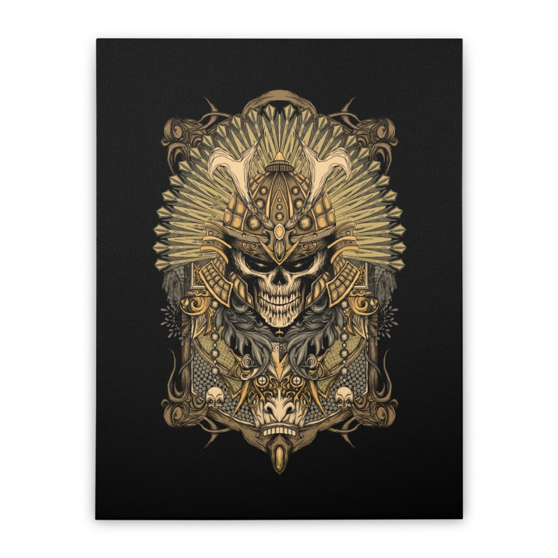 ornamental samurai skull Home Stretched Canvas by gupikus's Artist Shop
