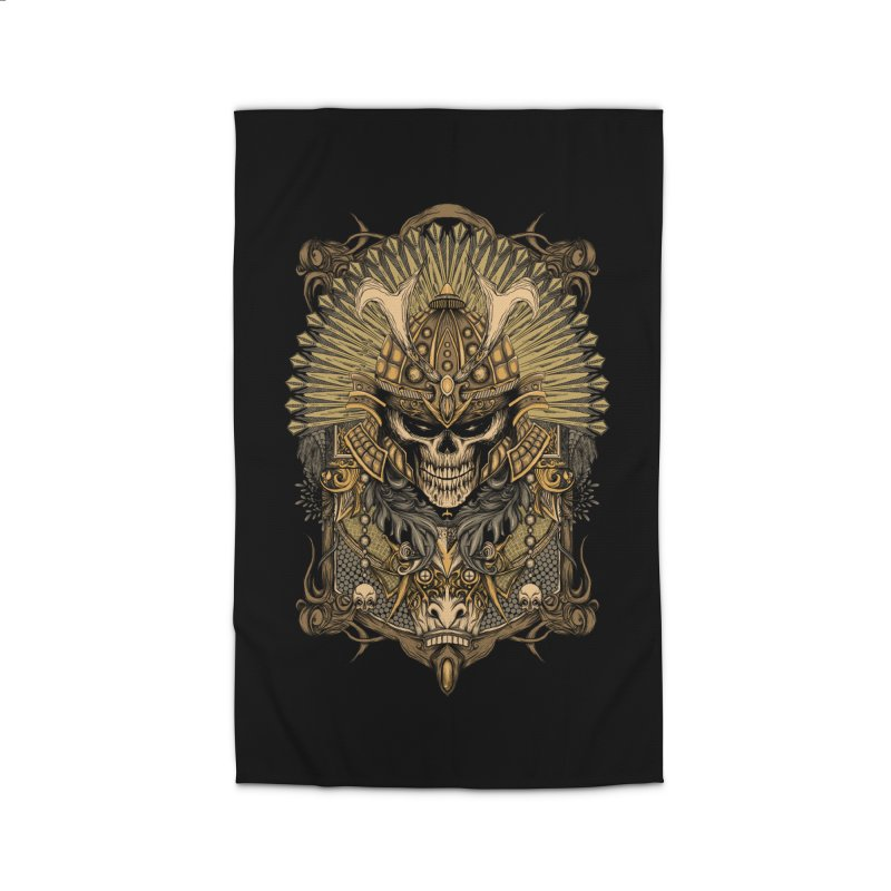 ornamental samurai skull Home Rug by gupikus's Artist Shop