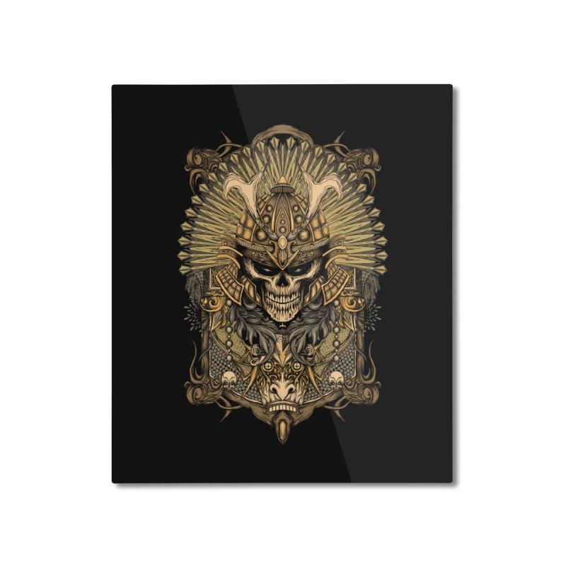 ornamental samurai skull Home Mounted Aluminum Print by gupikus's Artist Shop