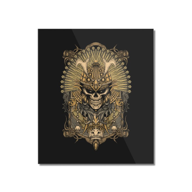 ornamental samurai skull Home Mounted Acrylic Print by gupikus's Artist Shop