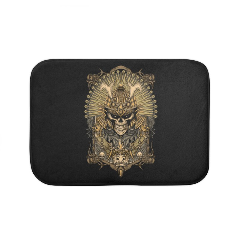ornamental samurai skull Home Bath Mat by gupikus's Artist Shop