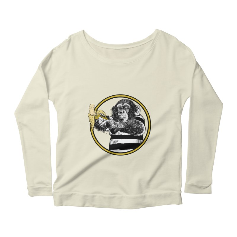 monkey and banana Women's Scoop Neck Longsleeve T-Shirt by gupikus's Artist Shop