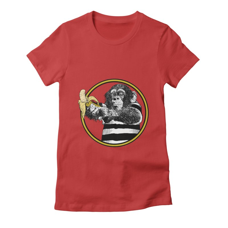 monkey and banana Women's Fitted T-Shirt by gupikus's Artist Shop