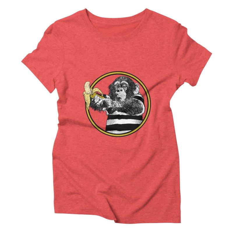 monkey and banana Women's Triblend T-Shirt by gupikus's Artist Shop