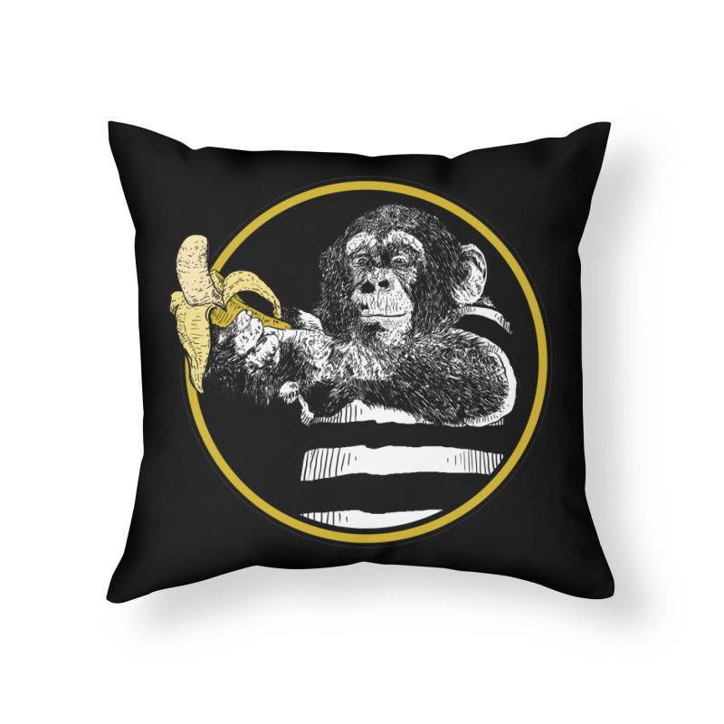 monkey and banana Home Throw Pillow by gupikus's Artist Shop
