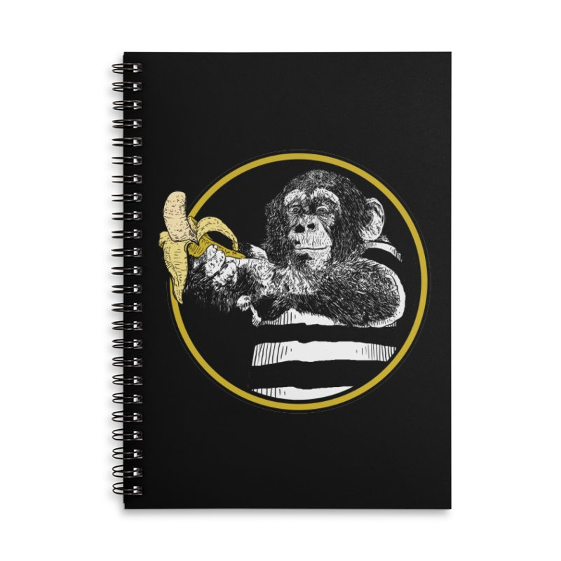 monkey and banana Accessories Lined Spiral Notebook by gupikus's Artist Shop