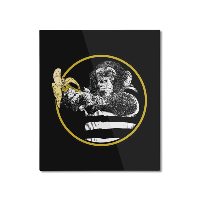 monkey and banana Home Mounted Aluminum Print by gupikus's Artist Shop