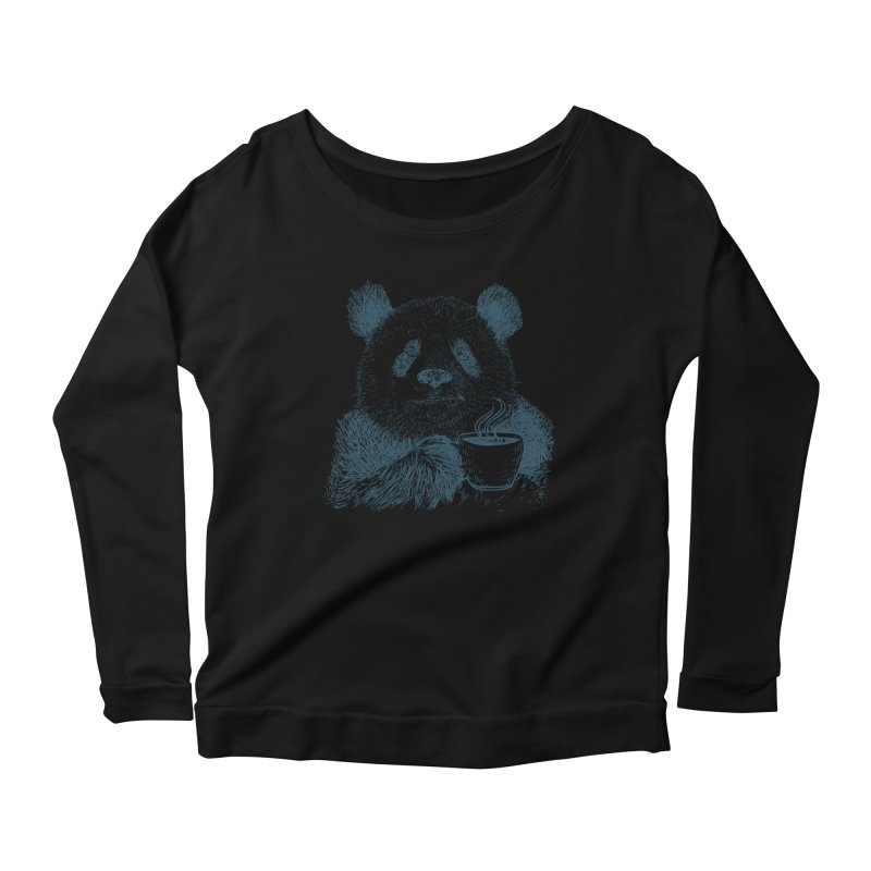 coffee panda Women's Scoop Neck Longsleeve T-Shirt by gupikus's Artist Shop