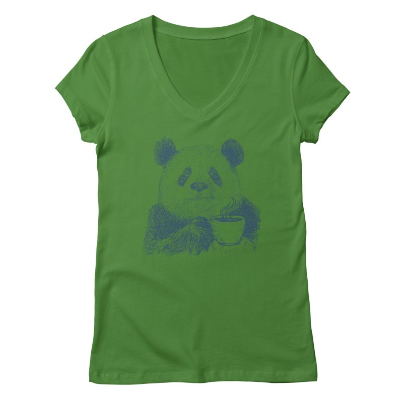 coffee panda Women's Regular V-Neck by gupikus's Artist Shop