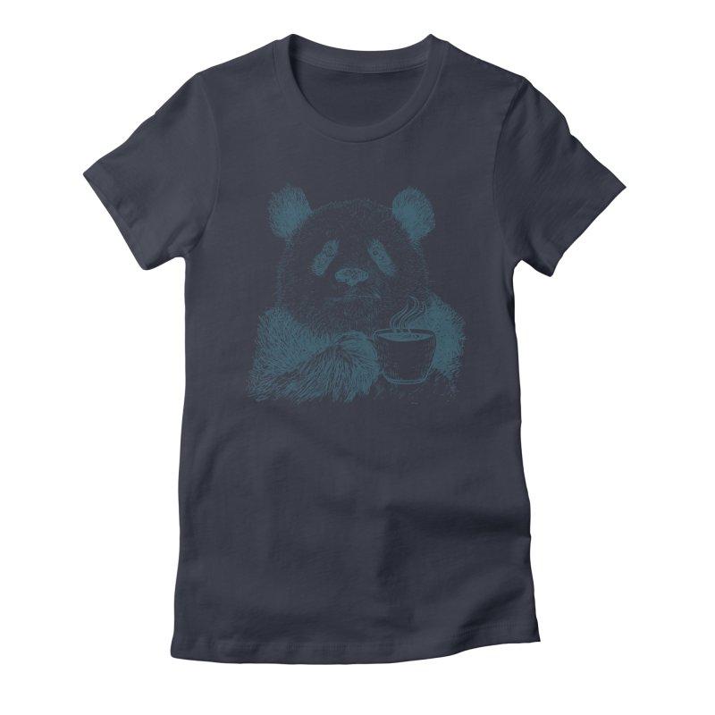 coffee panda Women's Fitted T-Shirt by gupikus's Artist Shop