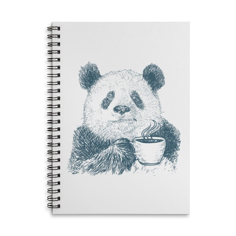 coffee panda Accessories Lined Spiral Notebook by gupikus's Artist Shop