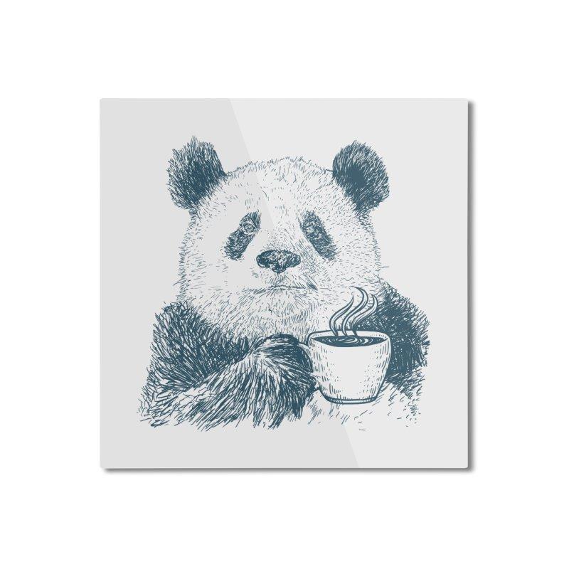 coffee panda Home Mounted Aluminum Print by gupikus's Artist Shop