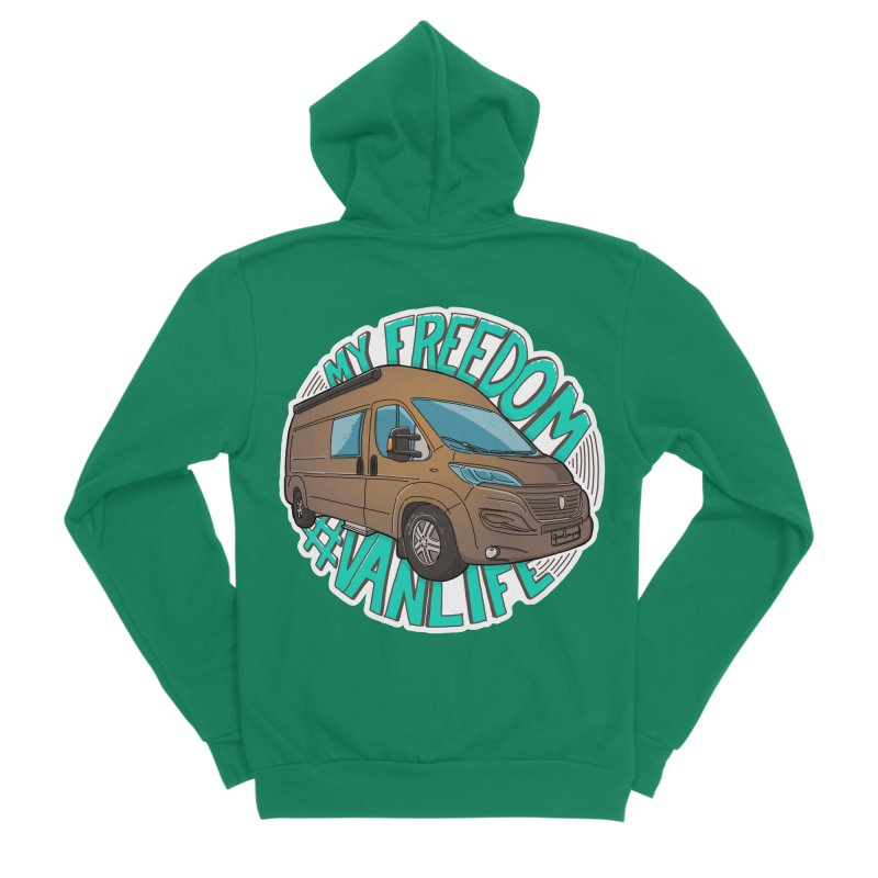 My Freedom Vanlife Women's Sponge Fleece Zip-Up Hoody by Illustrated GuruCamper