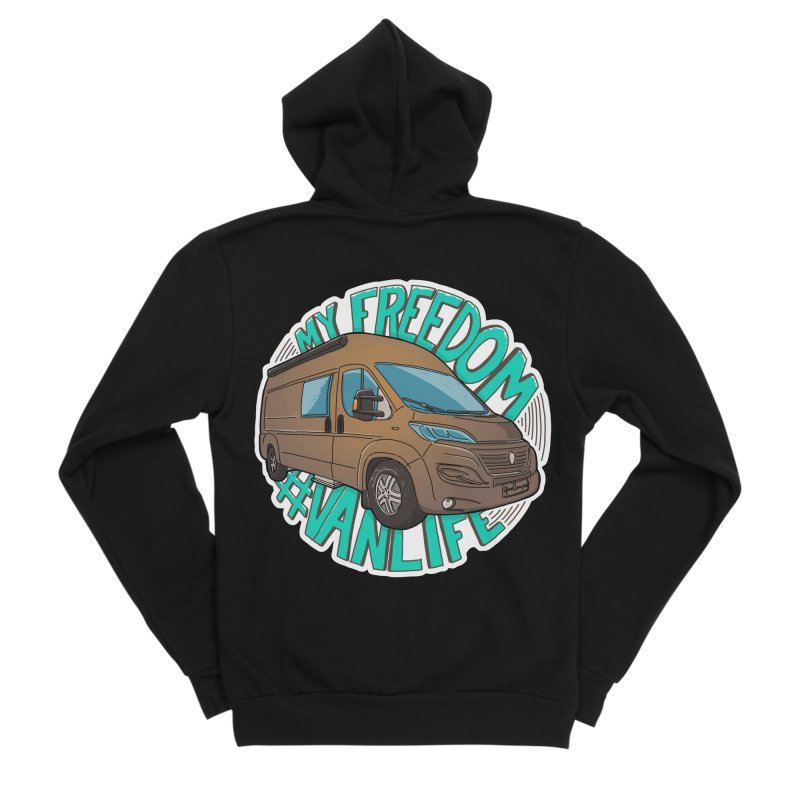 My Freedom Vanlife Men's Sponge Fleece Zip-Up Hoody by Illustrated GuruCamper