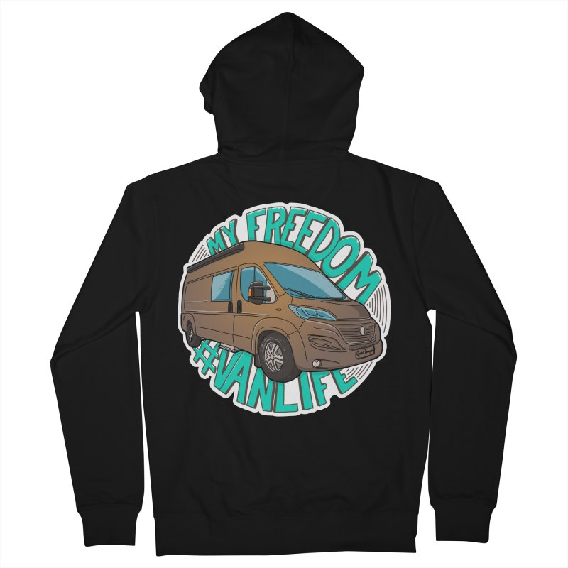 My Freedom Vanlife Women's French Terry Zip-Up Hoody by Illustrated GuruCamper