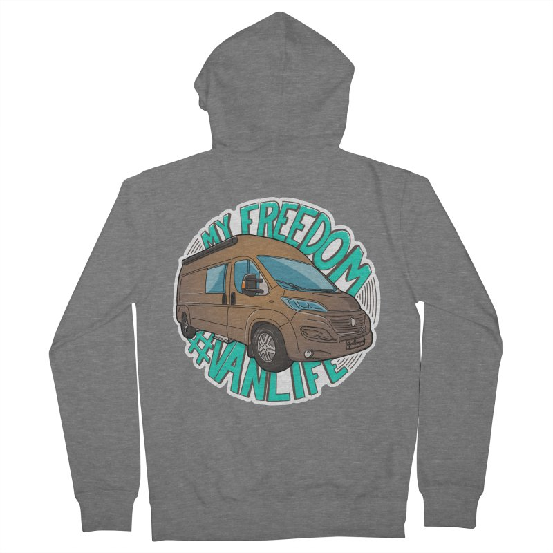 My Freedom Vanlife Men's French Terry Zip-Up Hoody by Illustrated GuruCamper