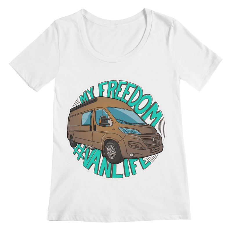 My Freedom Vanlife Women's Regular Scoop Neck by Illustrated GuruCamper