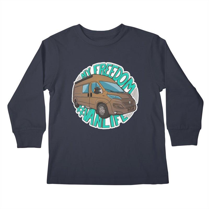 My Freedom Vanlife Kids Longsleeve T-Shirt by Illustrated GuruCamper