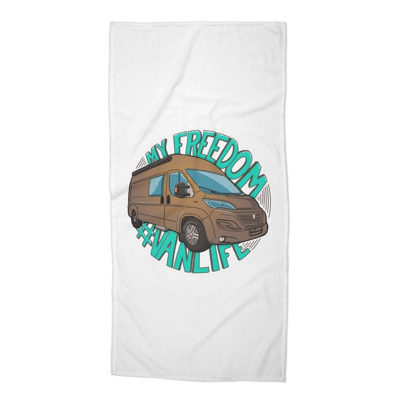 My Freedom Vanlife Accessories Beach Towel by Illustrated GuruCamper