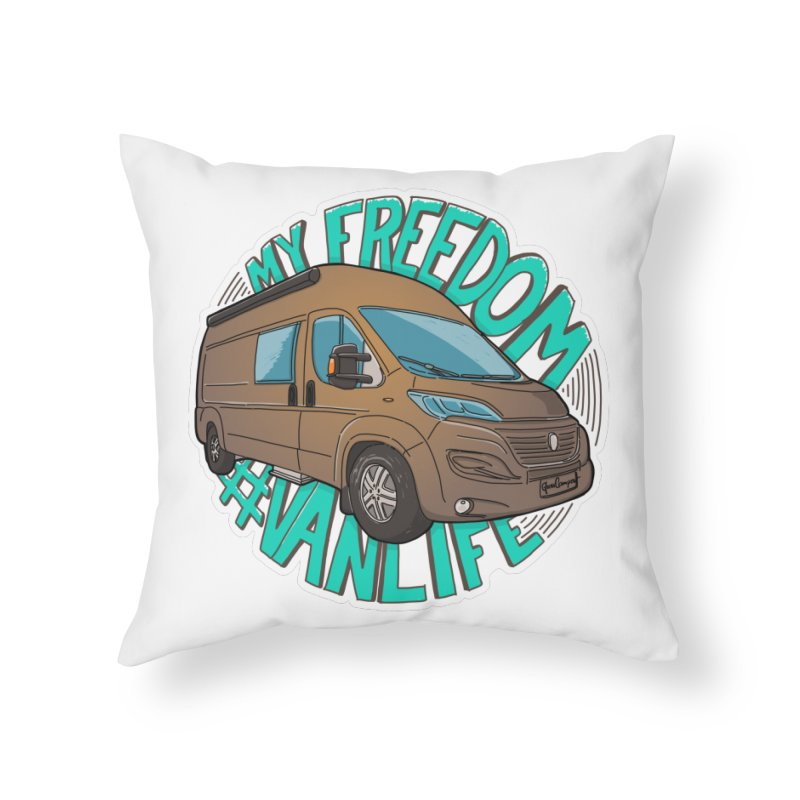 My Freedom Vanlife Home Throw Pillow by Illustrated GuruCamper