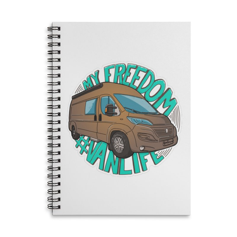 My Freedom Vanlife Accessories Lined Spiral Notebook by Illustrated GuruCamper