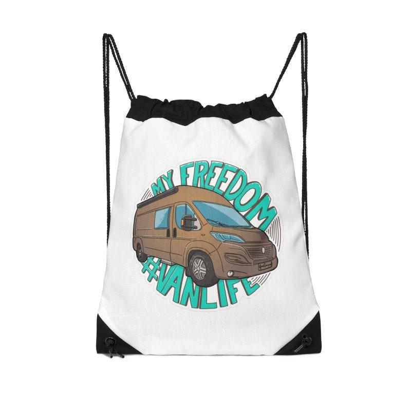 My Freedom Vanlife Accessories Drawstring Bag Bag by Illustrated GuruCamper