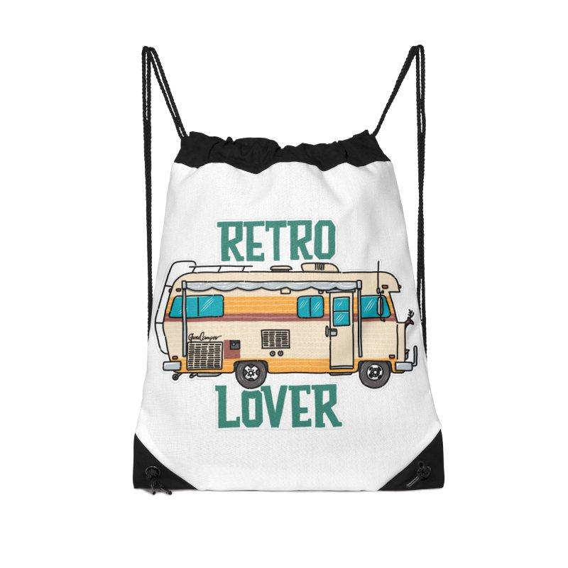 Commander Retro Lover Accessories Drawstring Bag Bag by Illustrated GuruCamper