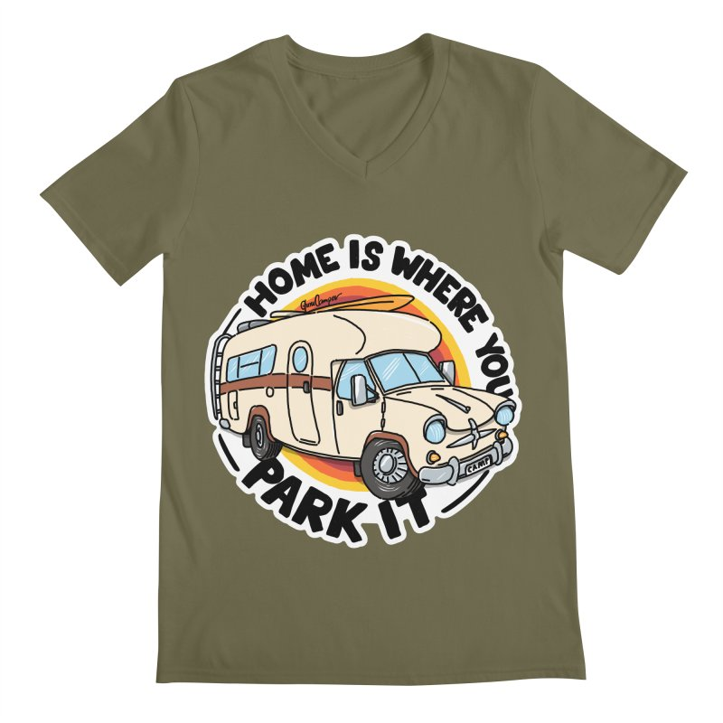 Home is Where You Park It Men's Regular V-Neck by Illustrated GuruCamper