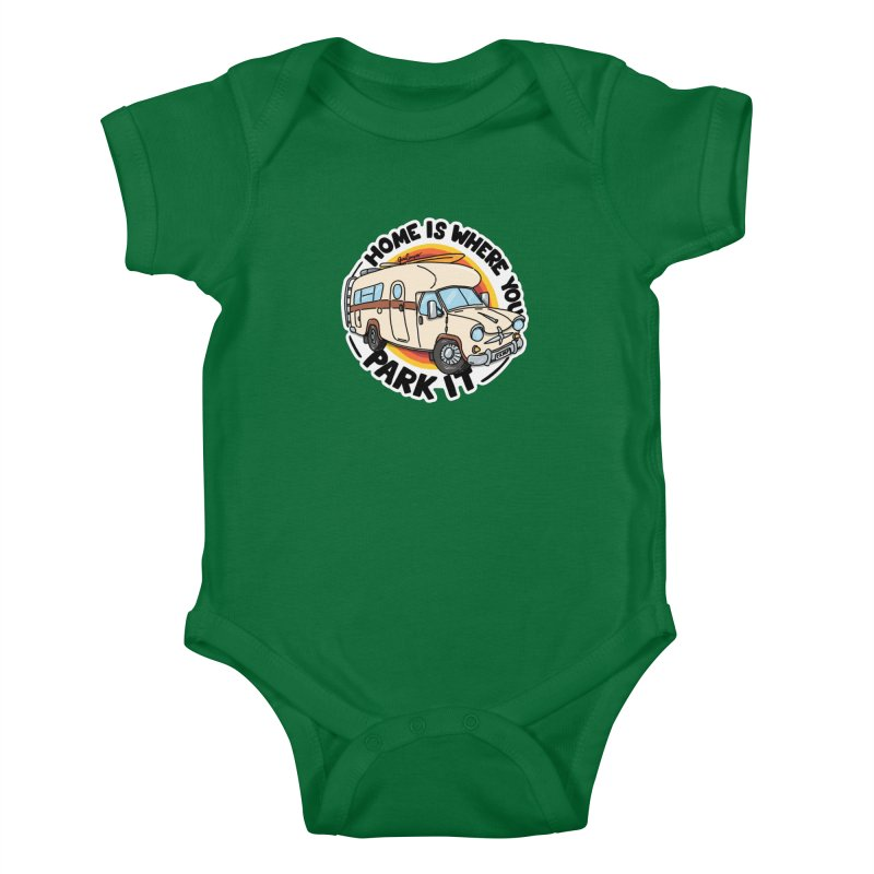 Home is Where You Park It Kids Baby Bodysuit by Illustrated GuruCamper