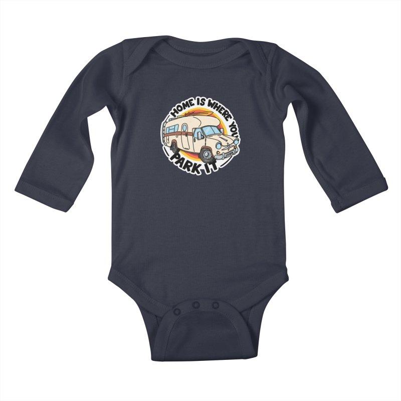 Home is Where You Park It Kids Baby Longsleeve Bodysuit by Illustrated GuruCamper