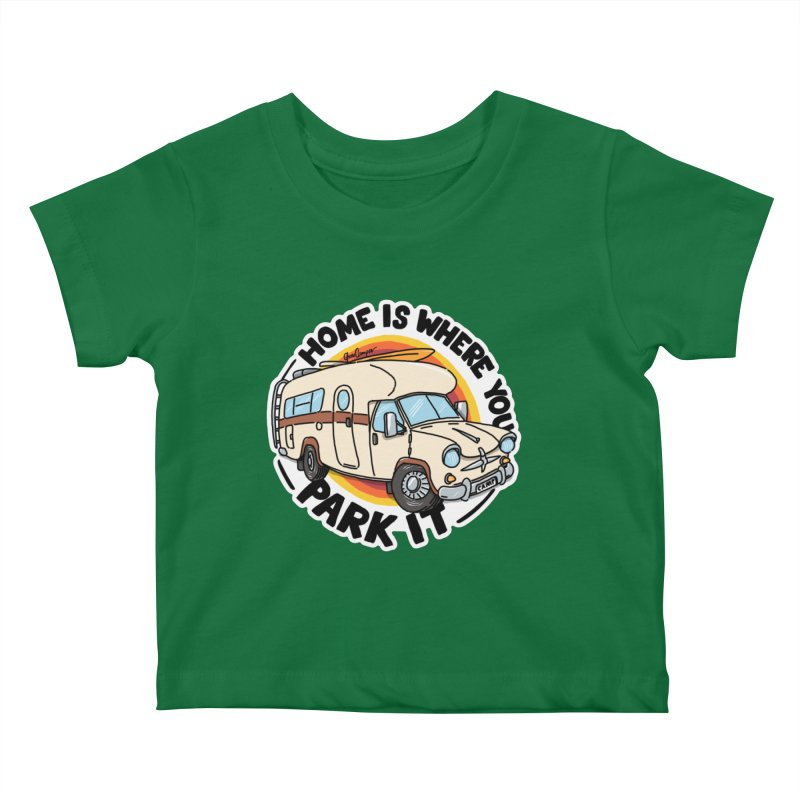 Home is Where You Park It Kids Baby T-Shirt by Illustrated GuruCamper