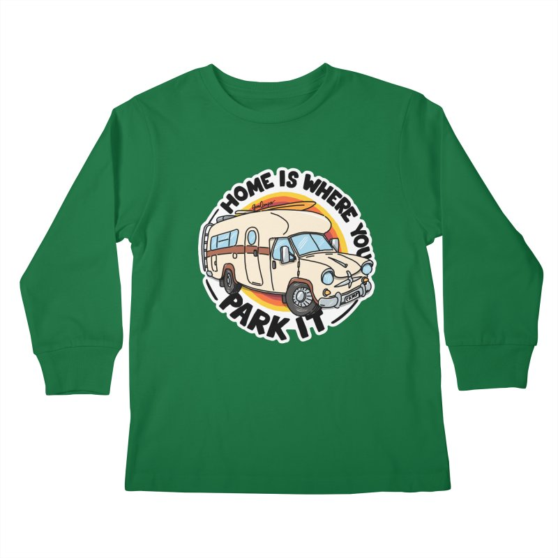 Home is Where You Park It Kids Longsleeve T-Shirt by Illustrated GuruCamper