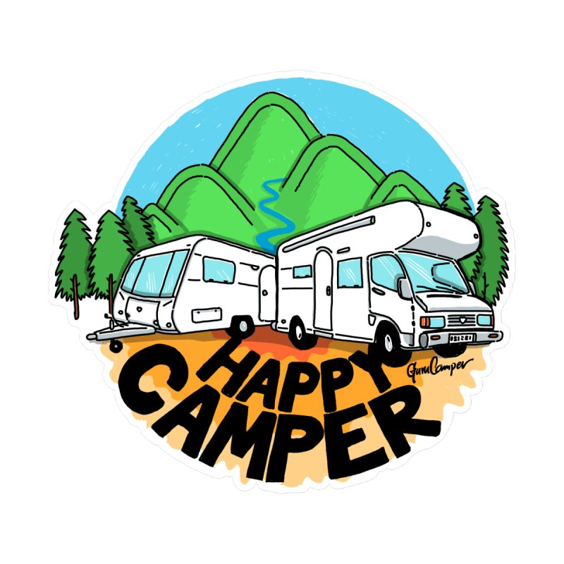 Happy Camper Mountains Accessories Sticker by Illustrated GuruCamper