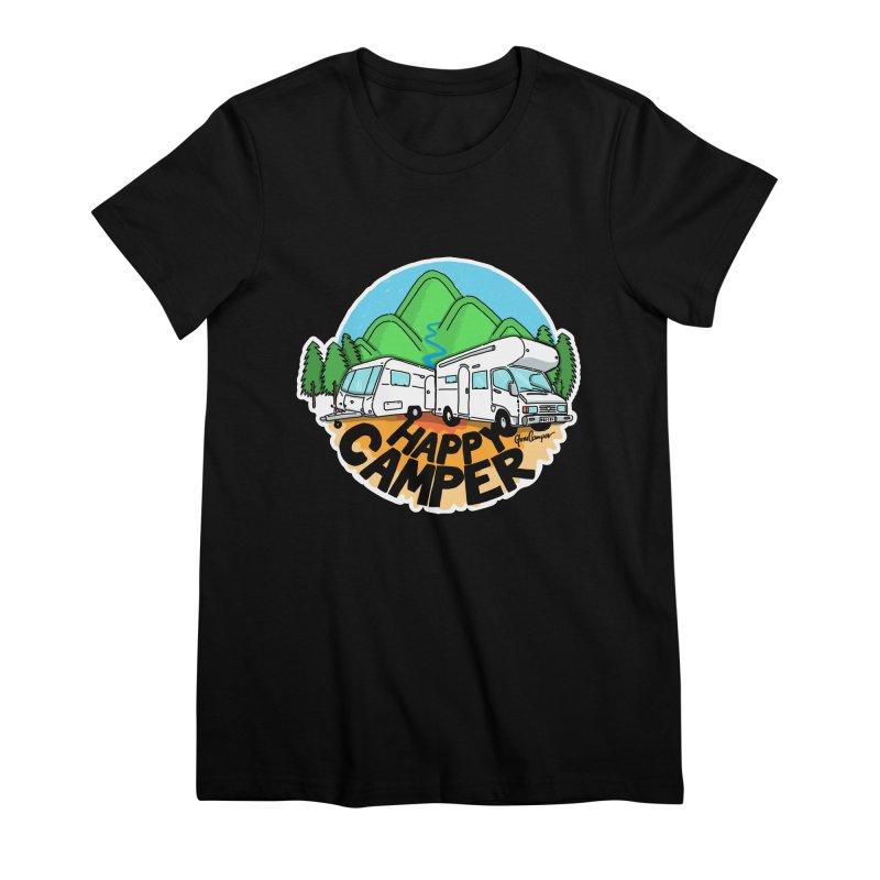 Happy Camper Mountains Women's Premium T-Shirt by Illustrated GuruCamper