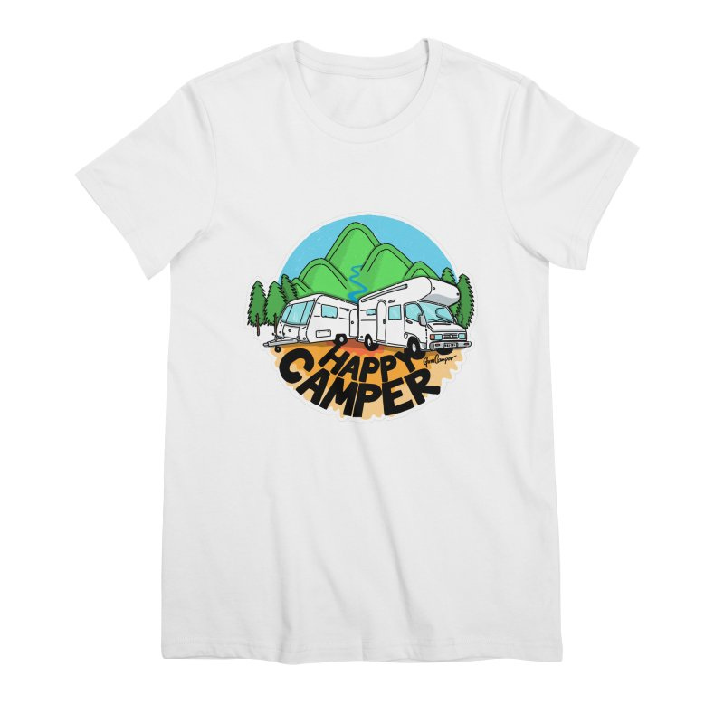 Happy Camper Mountains Women's Premium T-Shirt by Illustrated GuruCamper