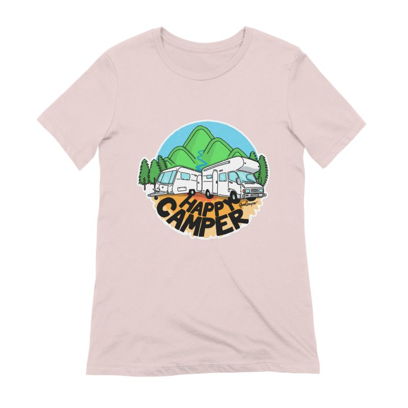 Happy Camper Mountains Women's Extra Soft T-Shirt by Illustrated GuruCamper