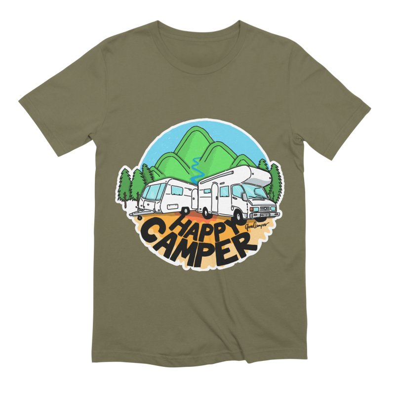 Happy Camper Mountains Men's Extra Soft T-Shirt by Illustrated GuruCamper