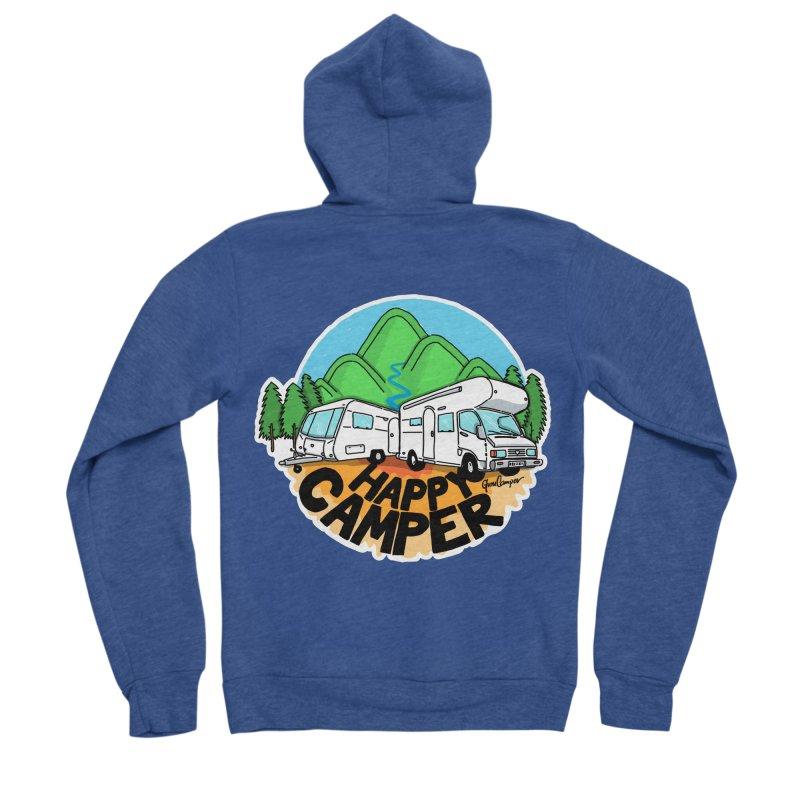 Happy Camper Mountains Men's Sponge Fleece Zip-Up Hoody by Illustrated GuruCamper