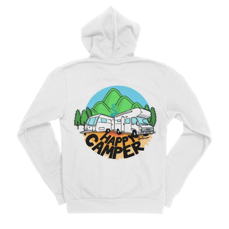 Happy Camper Mountains Women's Sponge Fleece Zip-Up Hoody by Illustrated GuruCamper